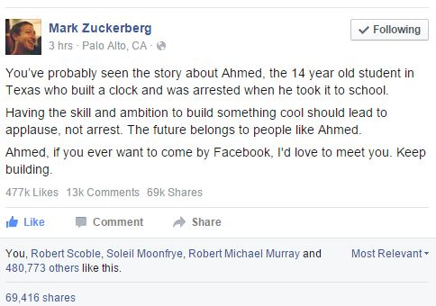 9th grader Ahmed Mohamed invited to bring his clock to the White House/Facebook