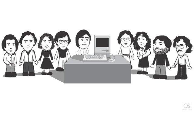 Best moments of Steve Jobs's life: Steve with the original Apple Macintosh team (George Crow, Burrell Smith, Joanna Hoffman, Bud Tribble, Andy Hertzfeld, Susan Kare, Jerry Manock, Bill Atkinson) (1983)