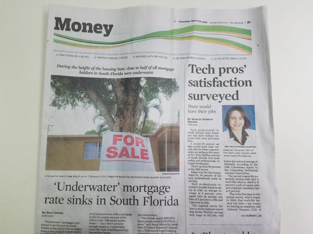 sun sentinel, Sun Sentinel: PROTECH Survey featured on first page of Money section, PROTECH