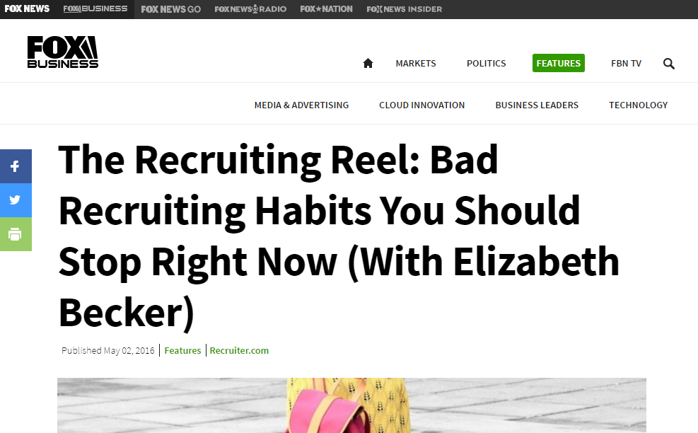 The Recruiting Reel: Bad Recruiting Habits You Should Stop Right Now (With Elizabeth Becker) – Featured on Fox Business