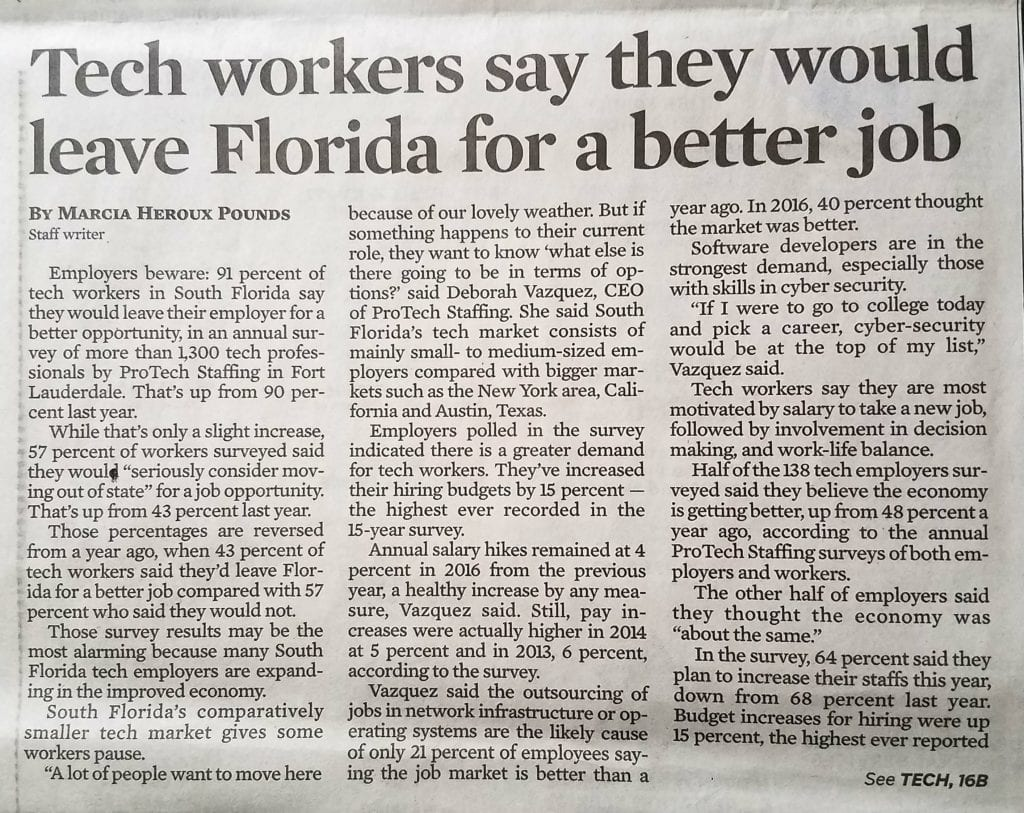 south florida survey, Nearly 60 percent of tech workers say they would leave state for better job according to South Florida Survey – Sun Sentinel, PROTECH